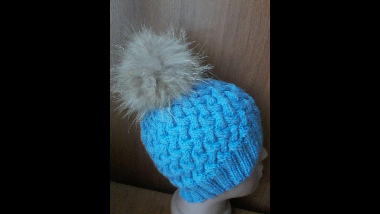 Женская шапка узором плетенка спицами