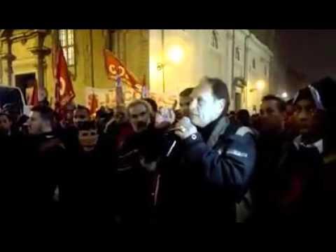 Parma 30/01 corteo a sostegno dei facchini della Bormioli - Intervento finale di Aldo Milani -