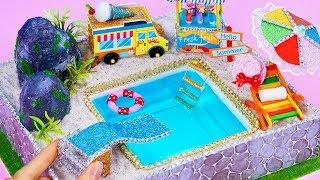 DIY Miniature Swimming Pool ~ 10 Minute DIY Doll Crafts