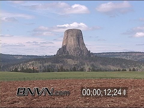 Time-lapse footage of Devils Tower and clouds rolling by