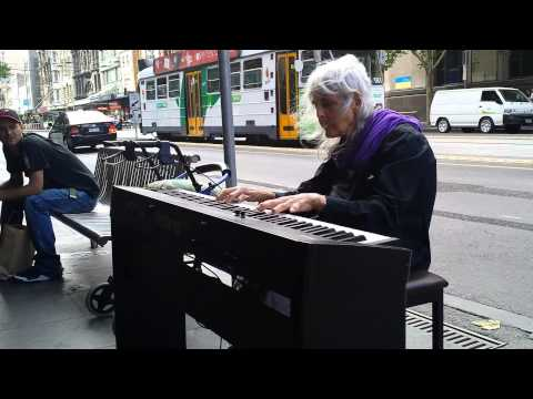 Natalie: Iconic Melbourne Piano Street Performer. Composing (improvising) on the spot (21/1/2014)