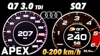 2017 Audi Q7 3.0 TDI vs. Audi SQ7 - Acceleration Sound 0-100, 0-200 km/h | APEX