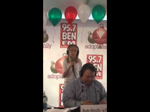 Avery sings When Santa Comes To Town with 95.7 BEN-FM Adopt-A-Family Radiothon