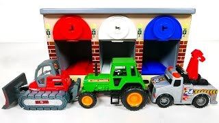 Learn Colors with Tractor Bulldozer and Tow Truck Garage Parking Playset for Kids