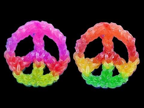 How to Make Loom Bands / Rainbow Loom Charms: PEACE SIGN  (Crazy Fun Loom