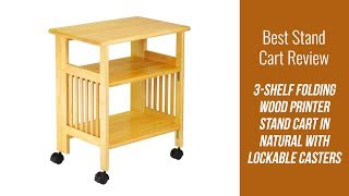 Stand Cart - 3-Shelf Folding Wood Printer Stand Cart in Natural with Lockable Casters