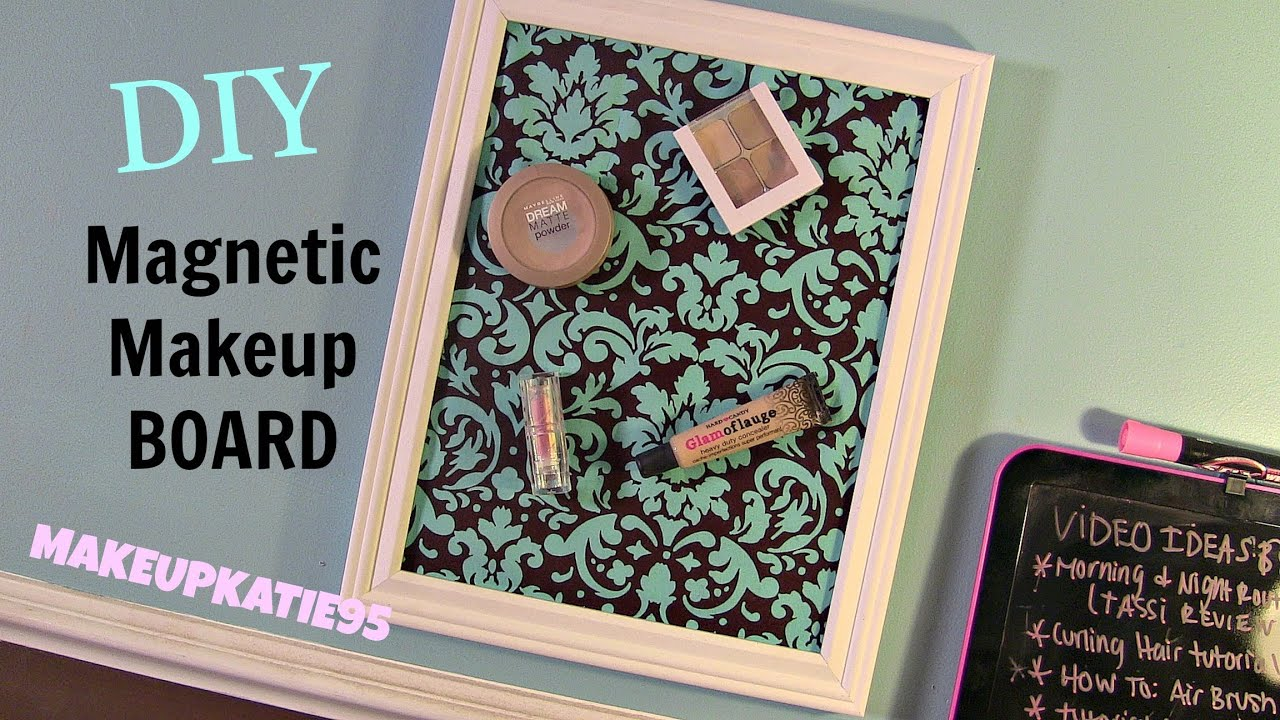 diy magnetic makeup board youtube. Black Bedroom Furniture Sets. Home Design Ideas