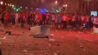 Athletico Madrid fans riot after clinching Europa title