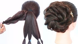 messy bun trick || messy updo for weddings || hair style girl || updo hairstyles || hairstyle