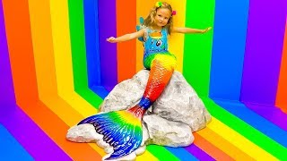 Mila as a Rainbow Dash My Little Pony in the ice cream country
