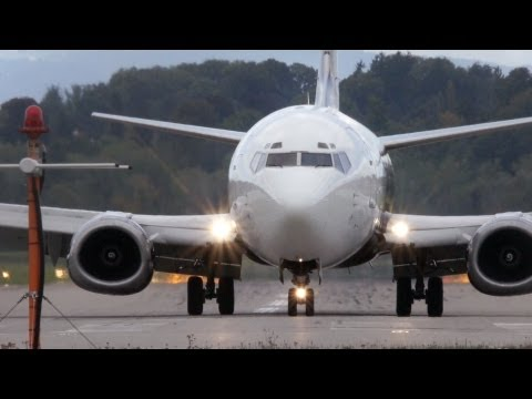 Boeing 737-300 Titan Airways Landing & Take Off at Airport Bern-Belp - Liverpool FC aboard