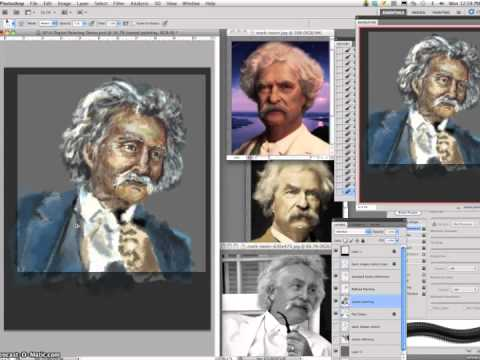 5 Mark Twain Digital Caricature Painting Demo Refined Painting Time Lapse X1000