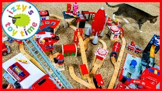 Fire Trucks and Trains for Kids! Thomas Train, Bruder, and Hot Wheels Valentines Track!