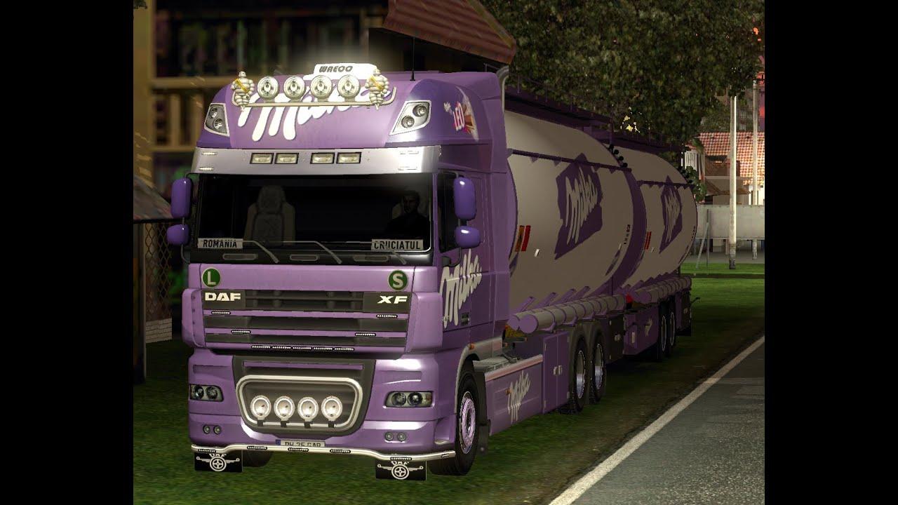 Daf xf tuning mod ets2 euro truck simulator 2 youtube - Euro Truck Simulator 2 Daf Xf 105 Milka Tandem Youtube