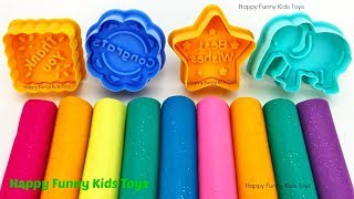 Learn Colors with Play Doh Modelling and Elephant Cookie Molds, Surprise Toys Shimmer and Shine