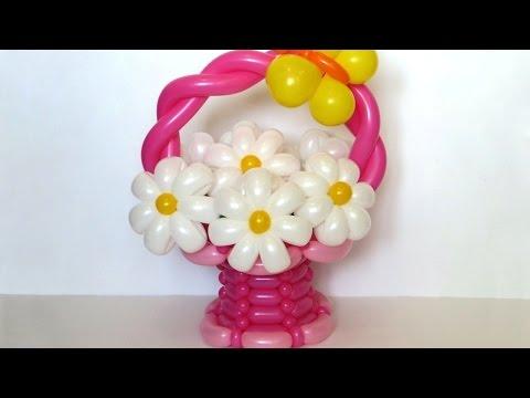 Как сделать букет с цветами из шаров 732