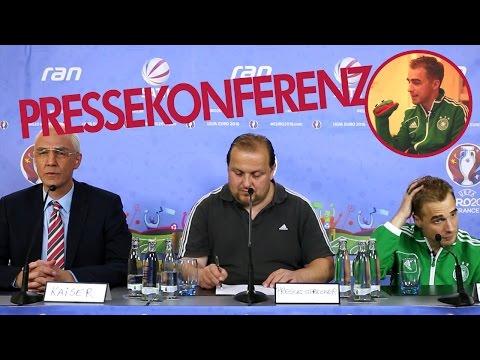 Philipp Lahm und Franz Beckenbauer Pressekonferenz – EM 2016 im Interview Deutschland Nordirland