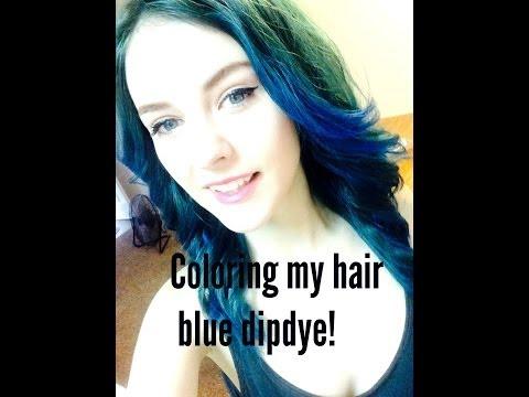 Coloring my hair blue dip dye; No bleaching!