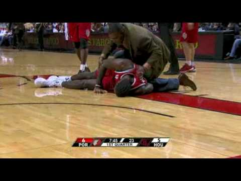 Greg Oden injury vs Houston Rockets (HQ) Video