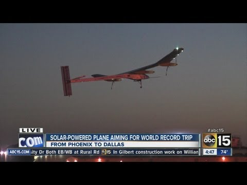 Solar-powered plane takes off from Phoenix