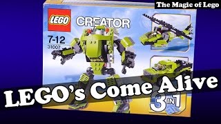 Lego Creator Power Mech 31007 3 in 1 robot truck helicopter assemble themselves.
