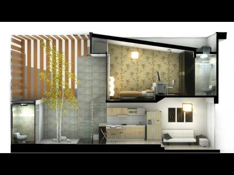 Casa pequeña Minimalista, Hernandez, 2 pisos de 2.50m x 12.00m (40m² cubiertos)