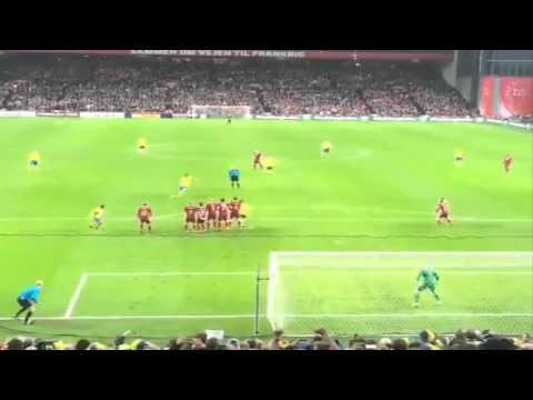 Awesome fan footage of Zlatan Ibrahimovic golazo free-kick v Denmark