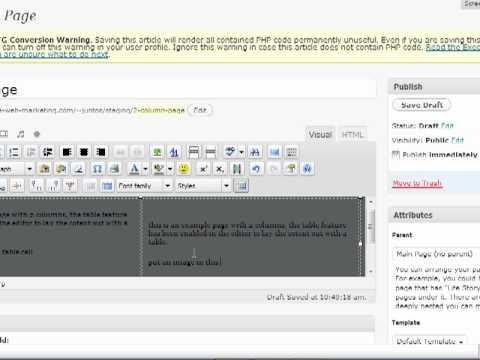 Wordpress Tutorial - make a multi column layout for your content in tinyMCE editor
