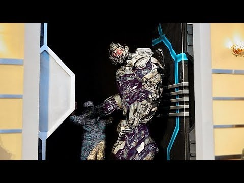 Kids run scared from Megatron Optimus Prime - angry Megatron