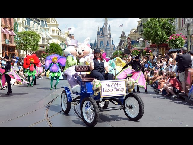 Happy Easter Parade at Magic Kingdom 2015 with Mr. & Mrs. Easter Bunny, Daisy, Thumper, Miss Bunny