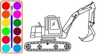 Xe cần cẩu cho bé vẽ và tô màu | Dạy bé vẽ | Dạy bé tô màu | Crane Truck drawing and coloring