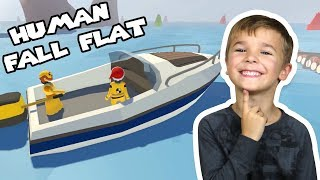 TWO LITTLE HUMANS DRIVING BOATS | HUMAN FALL FLAT MULTIPLAYER
