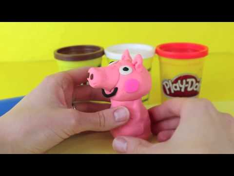 Play Doh Peppa Pig How To Make Peppa Pig with Play Dough 3D Peppa Pig Playdough Figure DisneyCarToys