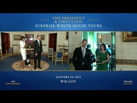 President Obama and First Lady Michelle Obama Surprise White House Visitors