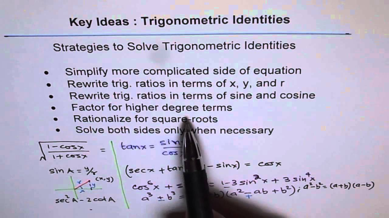 key strategies to prove trig identities youtube. Black Bedroom Furniture Sets. Home Design Ideas