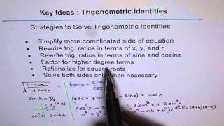 Key Strategies To Prove Trig Identities