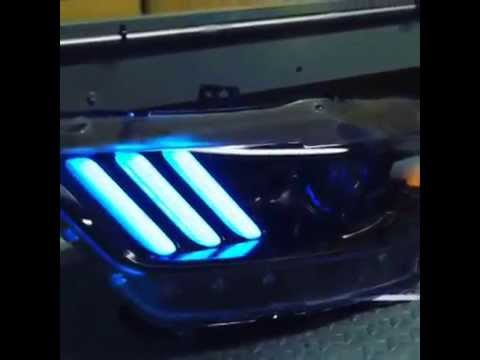 sema 2015 mustang s550 headlights with color changing leds