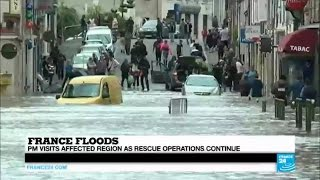 France floods: heavy rains still fall, flood waters due to continue rising