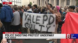 Web Extra: Police shooting protest held in New Haven Thursday evening