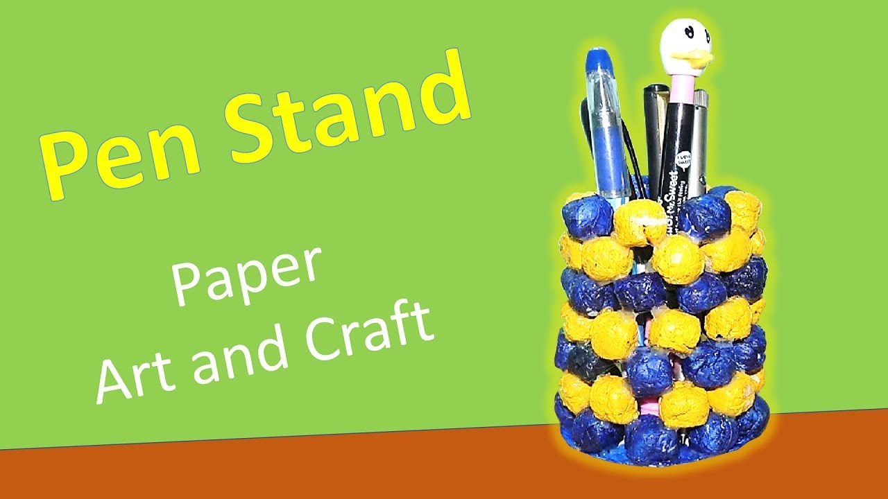 How to make a pen stand using old news paper youtube for Hand work with waste materials