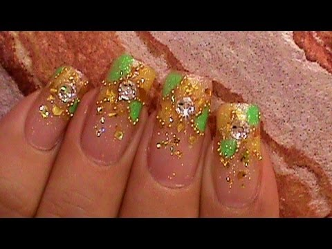 Fantasia Citrus Mosaiac Green & Yellow Nail Design