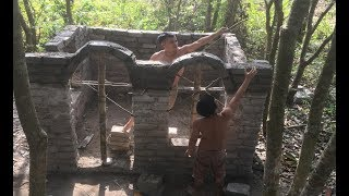 Primitive technology with survival skills Wilderness build house Roman part 4