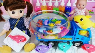 Baby doll colors Slime and Aqua fish maker play - 토이몽