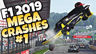 F1 2019 MEGA CRASHES #1