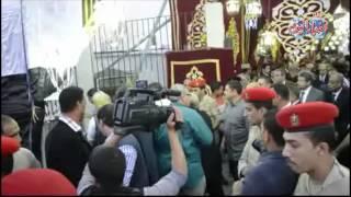 المستشار عدلي منصور يقدم واجب العزاء لزوجة عبد الرحمن الابنودي