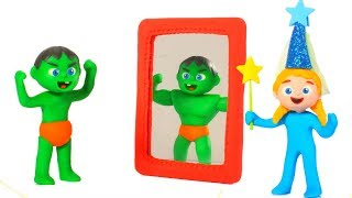 SUPERHERO BABIES PRETEND TO BE STRONG MEN ❤ SUPERHERO PLAY DOH CARTOONS FOR KIDS