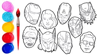 The AVENGERS Coloring Pages | How to draw all Avengers Character Faces | Iron Thor Hulk America