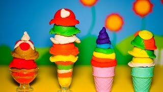 Play Doh Ice cream - 4 cups of ice cream variety, colorful, 7 rainbow colors beautiful and delicious