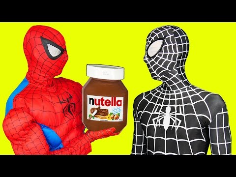Spiderman in Real Life Cooking Nutella Pancakes