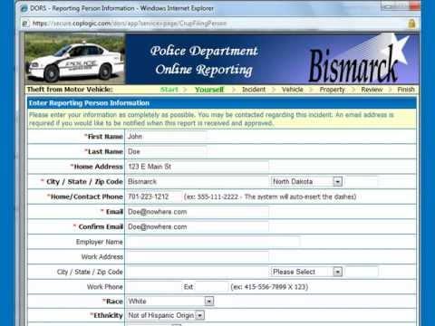 Online Bismarck Police Report Filing